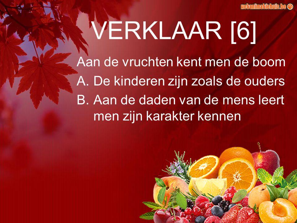 VERKLAAR [6] Aan de vruchten kent men de boom